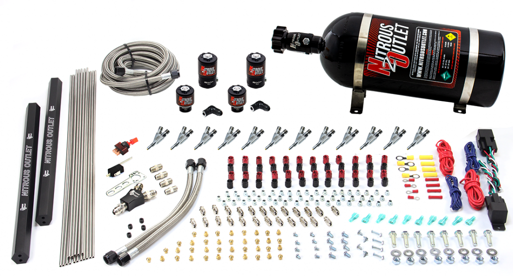 6 Cylinder Dual Stage Direct Port System Two 122 Nitrous Solenoids Two 177 Fuel Solenoids Two Dual Passage Injection Rails Annular Discharge Nozzles Gas 45 55 Psi