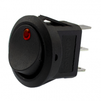 Mini Black Rocker Switch W/Red LED