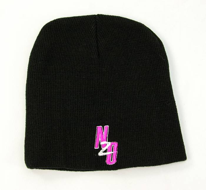 Black Beanie with Pink Nitrous Outlet logo (Non fold up style)