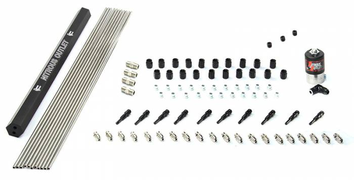 "10 Cylinder Dry Direct Port Plumbers Kit With Single Rail - .122"" Nitrous - 90° Aluminum Nozzles"
