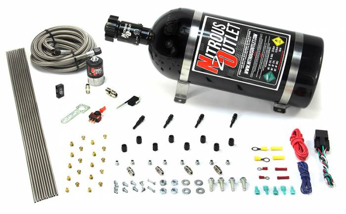 EFI 4 Cylinder 1 Solenoid Dry Direct Port System With Distribution Block and SBT Nozzles
