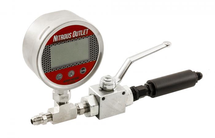 Digital Inline Nitrous Pressure Gauge & Shutoff Valve with Filter