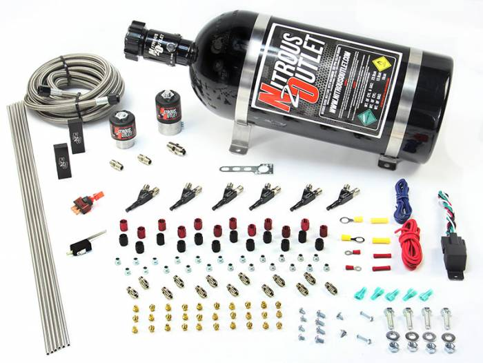 6 Cylinder 2 Solenoid Direct Port System With Distribution Blocks and 90 Degree Nozzles, Low Fuel Pressure E85