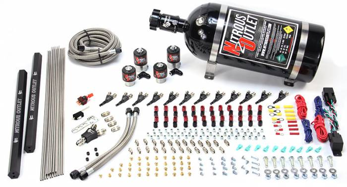 Copy of 6 Cylinder 4 Solenoid Dual Stage Direct Port System With Dual Injection Rails and 90 Degree Nozzles, Low Fuel Pressure E85