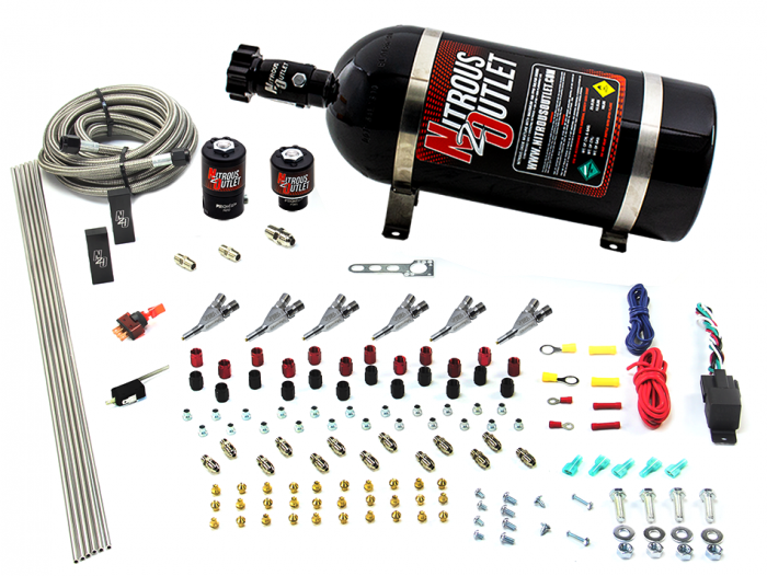 6 Cylinder 2 Solenoid Direct Port System With Distribution Blocks and Straight Blow Through Nozzles, Low Fuel Pressure Alcohol