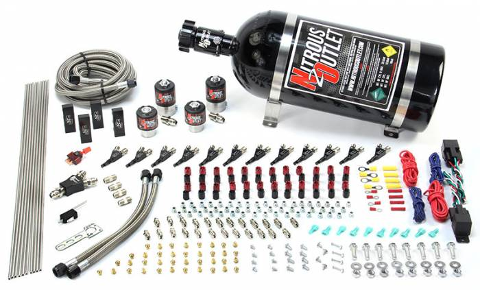 6 Cylinder 4 Solenoid Dual Stage Direct Port System With Distribution Blocks and 90 Degree Nozzles, High Fuel Pressure E85