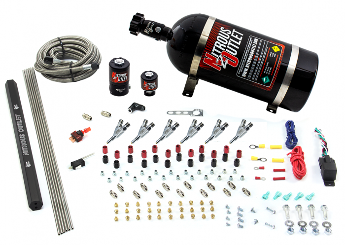 6 Cylinder 2 Solenoid Direct Port System With Single Injection Rail and Straight Blow Through Nozzles, High Fuel Pressure E85