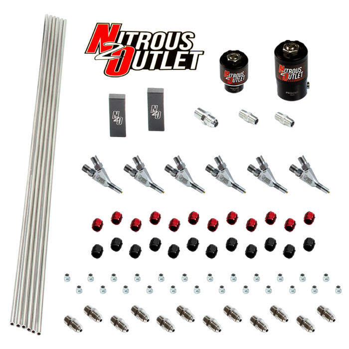 6 Cylinder 2 Solenoids Forward Plumbers Kit With Distribution Blocks - Straight Blow Through Nozzles