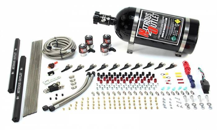 """10 Cylinder Wet Direct Port System With Dual Injection Rails - Alcohol - Two .122"""" Nitrous/Two .310"""" Fuel - Straight Blow Through Aluminum Nozzles"""