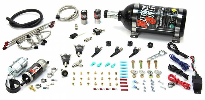 Powersports Carbureted Three Cylinder Nozzle System - Stainless 90° Nozzles