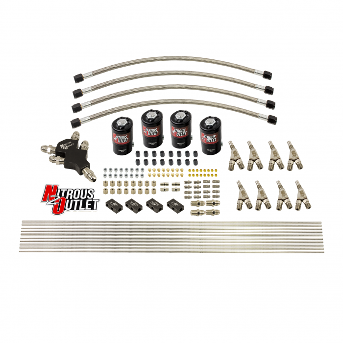 """Dry 8 Cylinder Dual Stage Solenoid Forward Direct Port Conversion Kit - .122"""" Orifice - Straight Blow Through Nozzles"""