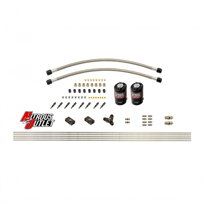 """Dry 8 Cylinder 2 Solenoid Forward Direct Port Conversion Kit - .112"""" Orifice - Straight Blow Through Nozzles"""