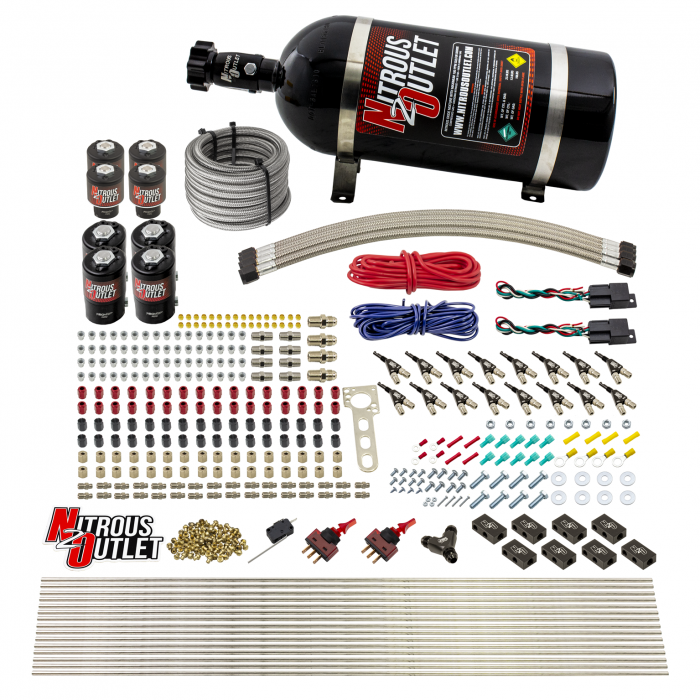 8 Cylinder Dual Stage Direct Port Nitrous System - .122 Nitrous/.177 Fuel Solenoids