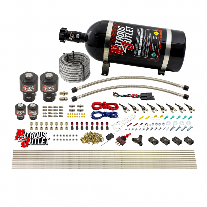 8 Cylinder Single Stage Direct Port Nitrous System - .178 Nitrous/.177 Fuel Solenoids - Straight Blow Through Nozzles