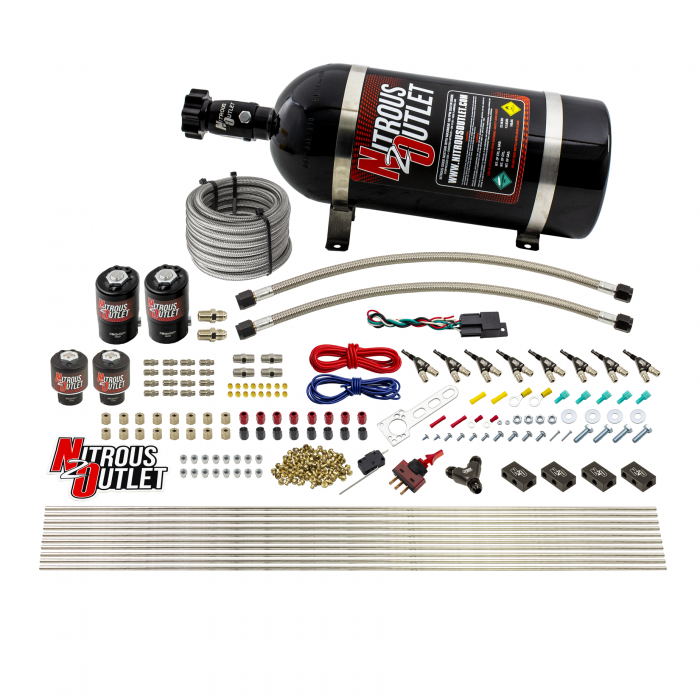8 Cylinder Single Stage Direct Port Nitrous System - .122 Nitrous/.177 Fuel Solenoids