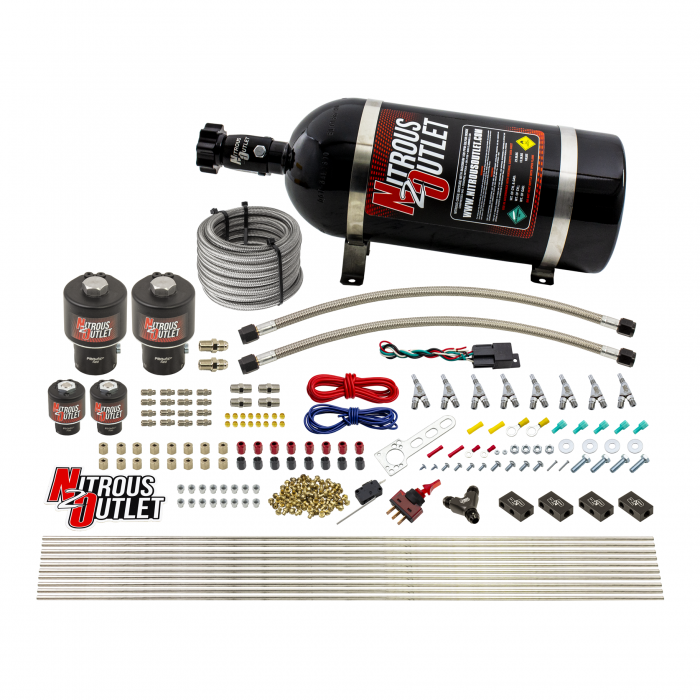 8 Cylinder Single Stage Direct Port Nitrous System - .178 Nitrous/.177 Fuel Solenoids - E85 - Straight Blow Through Nozzles