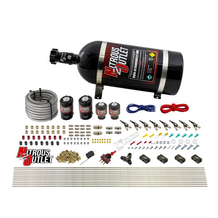 8 Cylinder Single Stage Direct Port Nitrous System - .122 Nitrous/.177 Fuel Solenoids - Alcohol
