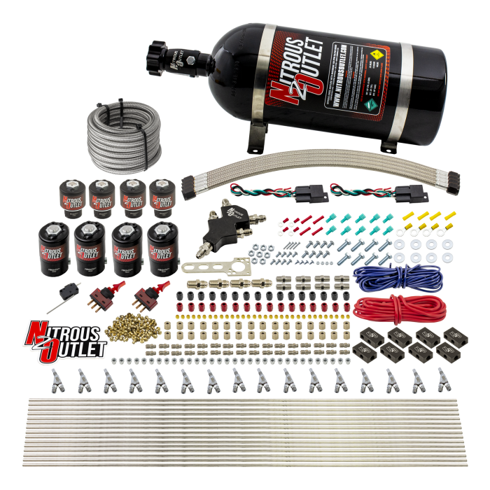8 Cylinder Dual Stage Direct Port Nitrous System - .122 Nitrous/.177 Fuel Solenoids - Alcohol - Straight Blow Through Nozzles