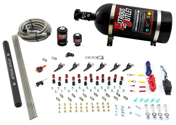 6 Cylinder 2 Solenoid Direct Port System With Distribution Blocks - Alcohol - 90 Degree Nozzles - Low Fuel Pressure
