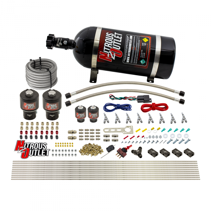 8 Cylinder Single Stage Direct Port Nitrous System - .178 Nitrous/.177 Fuel Solenoids - Alcohol - Straight Blow Through Nozzles