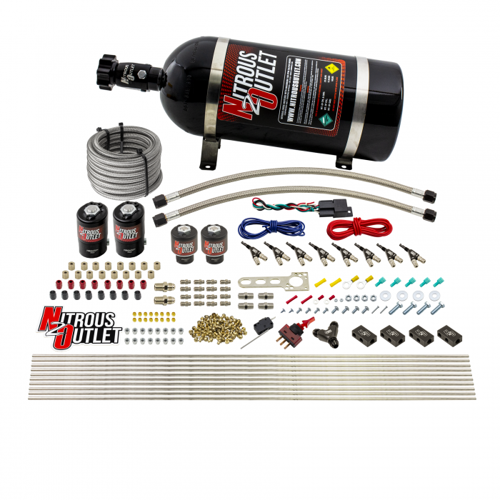8 Cylinder Single Stage Direct Port Nitrous System - .122 Nitrous/.177 Fuel Solenoids - E85