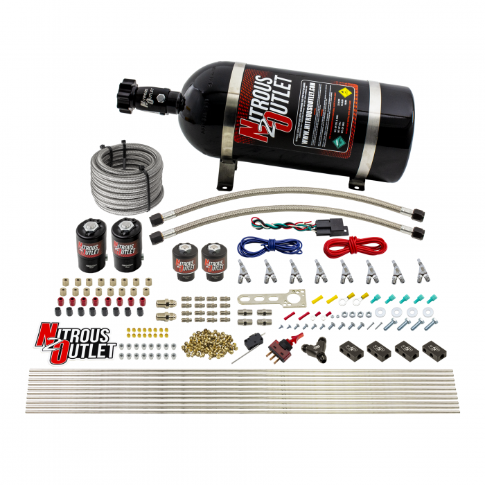 8 Cylinder Single Stage Direct Port Nitrous System - .112 Nitrous/.177 Fuel Solenoids - E85 - Straight Blow Through Nozzles