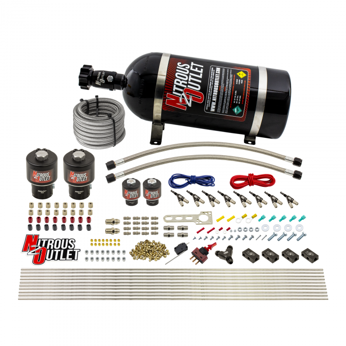 8 Cylinder Single Stage Direct Port Nitrous System - .178 Nitrous/.177 Fuel Solenoids - E85