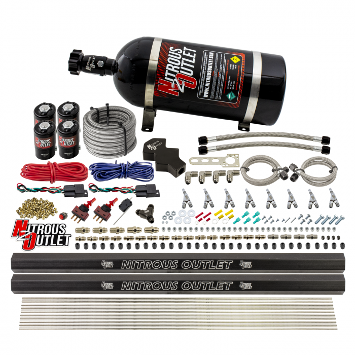 8 Cylinder 4 Solenoid Dry Dual Stage Direct Port System With Dual Rails - .112 Nitrous - Straight Blow Through Nozzles