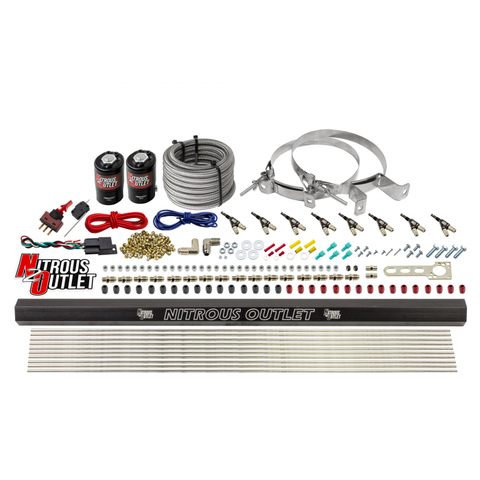 8 Cylinder Direct Port System With Single Injection Rail - .122 Nitrous/.310 Fuel - 90° Discharge Nozzles - 45-55 PSI - Gas