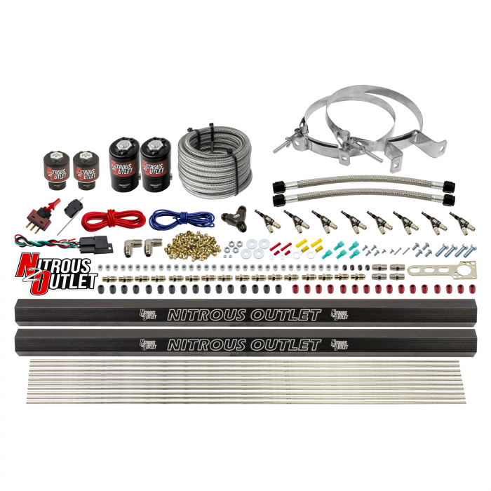 8 Cylinder Single Stage Direct Port Nitrous System with Injection Rails - Gas - .112 Nitrous/.177 Fuel