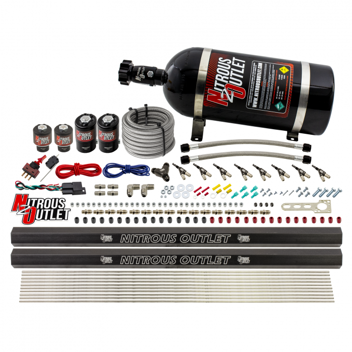8 Cylinder Single Stage Direct Port Nitrous System with Injection Rails - Alcohol - .122 Nitrous/.177 Fuel