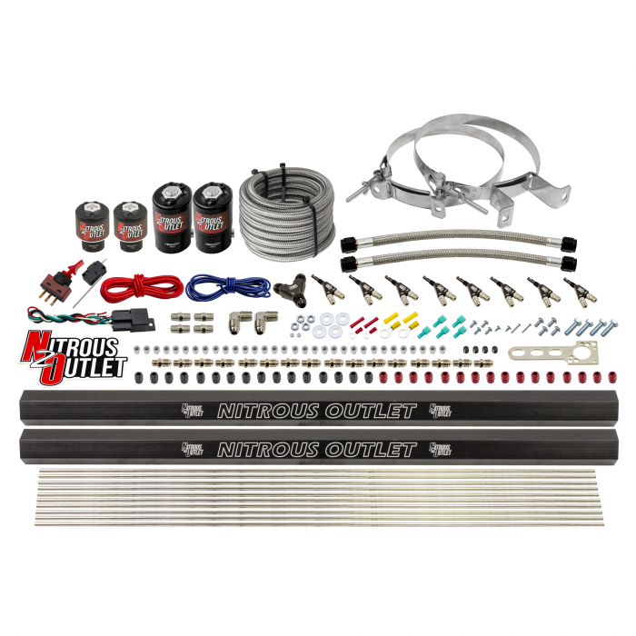 8 Cylinder Single Stage Direct Port Nitrous System with Injection Rails - E85 - .122 Nitrous/.177 Fuel