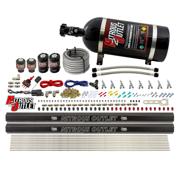 8 Cylinder Single Stage Direct Port Nitrous System with Injection Rails - E85 - .122 Nitrous/.177 Fuel - Straight Blow Through Nozzles