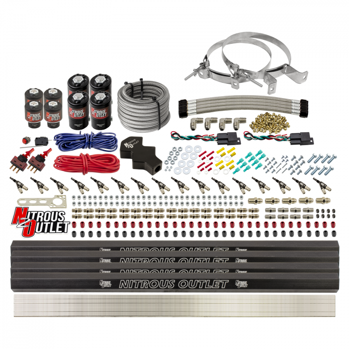 8 Cylinder Dual Stage Direct Port Nitrous System with Injection Rails - E85 - .112 Nitrous/ .177 Fuel