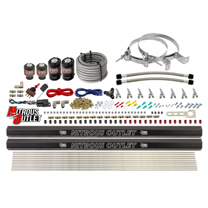 8 Cylinder Single Stage Direct Port Nitrous System with Injection Rails - E85 - .112 Nitrous/.177 Fuel - Straight Blow Through Nozzles