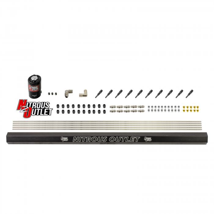 """10 Cylinder Dry Direct Port Plumbers Kit With Single Rail - .122"""" Nitrous - 90° Aluminum Nozzles"""
