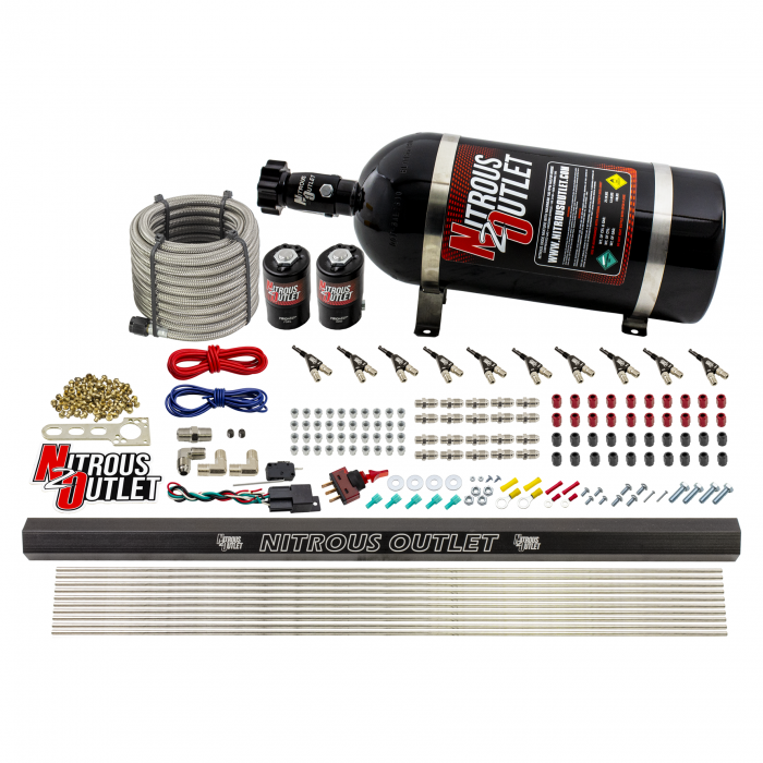 """10 Cylinder Wet Direct Port System With Single Injection Rail - E85 - .122"""" Nitrous/.310"""" Fuel - 90° Aluminum Nozzles"""
