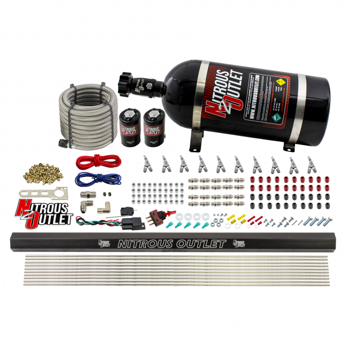 """10 Cylinder Wet Direct Port System With Single Injection Rail - E85 (45-55 PSI)  - .122"""" Nitrous/.310"""" Fuel - Straight Blow Through Aluminum Nozzles"""