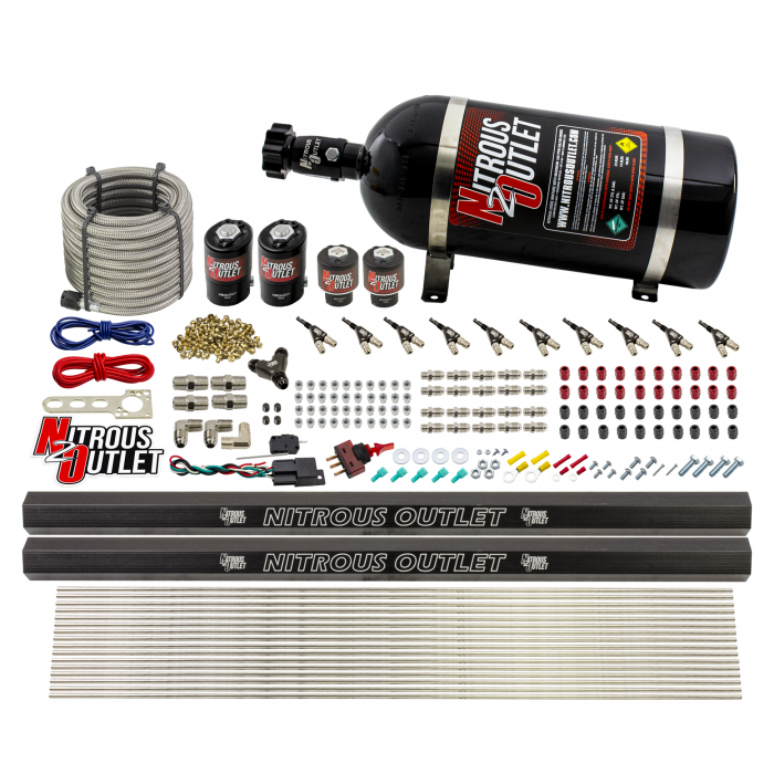 """10 Cylinder Wet Direct Port System With Dual Injection Rails - Gas - Two .122"""" Nitrous/Two .310"""" Fuel - 90° Aluminum Nozzles"""