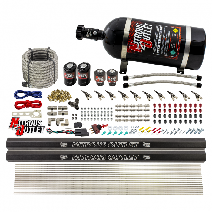 """10 Cylinder Wet Direct Port System With Dual Injection Rails - E85 - Two .122"""" Nitrous/Two .310"""" Fuel - 45-55 PSI - 90° Aluminum Nozzles"""