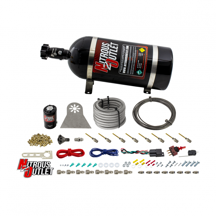 8 Cylinder Nylon Hose Direct Port Dry Nitrous System - Showerhead Distribution Blocks - .122 Nitrous - Plate Fittings