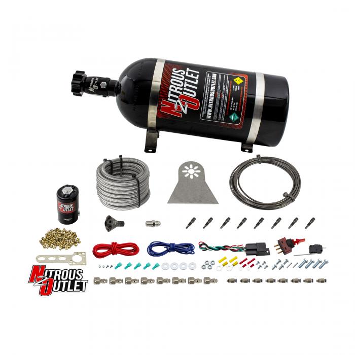 8 Cylinder Nylon Hose Direct Port Dry Nitrous System - Showerhead Distribution Blocks - .122 Nitrous - Straight Blow Through Aluminum Nozzles