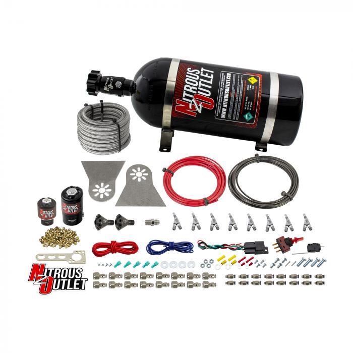 "8 Cylinder Nylon Hose Direct Port Wet Nitrous System - Showerhead Distribution Blocks - .122"" Nitrous/.177"" Fuel - 45-55 PSI - Straight Blow Through Aluminum Nozzles"