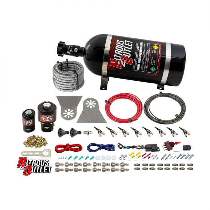 "8 Cylinder Nylon Hose Direct Port Wet Nitrous System - Showerhead Distribution Blocks - .178"" Nitrous/.310"" Fuel - 45-55 PSI - 90° Aluminum Nozzles"
