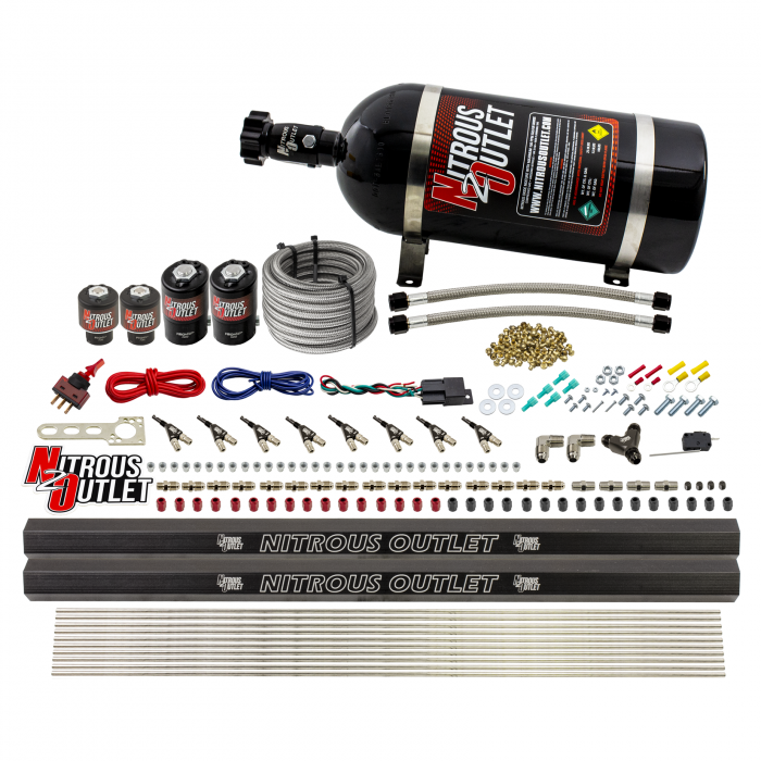 Cylinder Single Stage Direct Port Nitrous System with Injection Rails - Gas - .122 Nitrous/.177 Fuel - 45-55 PSI