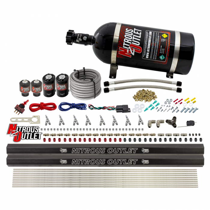 8 Cylinder Single Stage Direct Port Nitrous System with Injection Rails - E85 - .122 Nitrous/.177 Fuel - 45-55 PSI - Straight Blow Through Nozzles