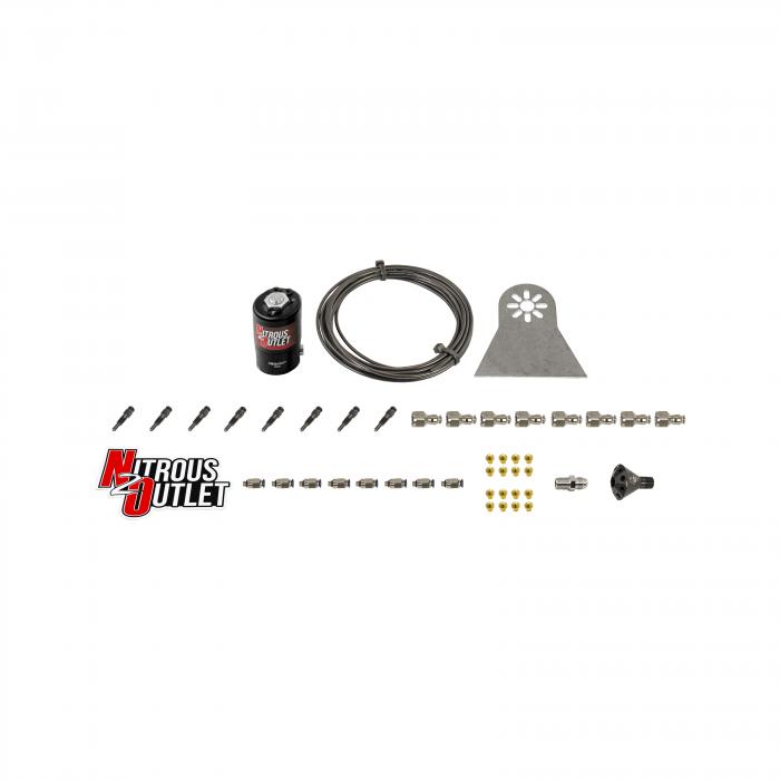 8 Cylinder Dry Nylon Hose Plumbers Kit - Showerhead Distribution Blocks - .122 Nitrous - Straight Blow Through Nozzles