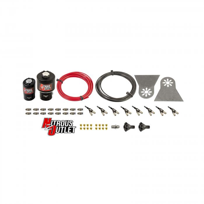 8 Cylinder 2 Solenoids Forward Nylon Hose Plumbers Kit - Showerhead Distribution Blocks - .178 Nitrous/.310 Fuel