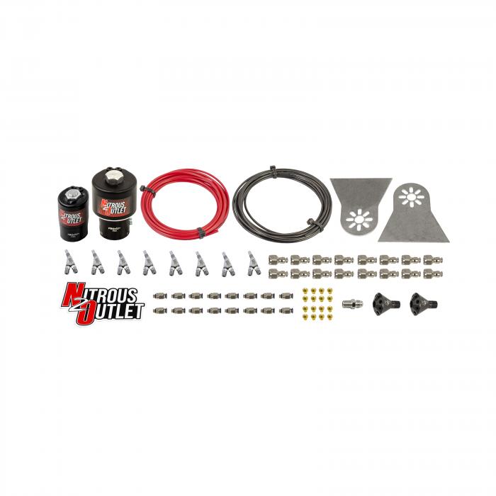 8 Cylinder 2 Solenoids Forward Nylon Hose Plumbers Kit - Showerhead Distribution Blocks - .178 Nitrous/.310 Fuel - Straight Blow Through Nozzles