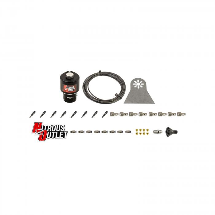 8 Cylinder Dry Nylon Hose Plumbers Kit - Showerhead Distribution Blocks - .112 Nitrous - Straight Blow Through Nozzles